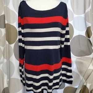 TOMMY HILFIGER Mixed-Stripe Boat Neck Sweater Logo
